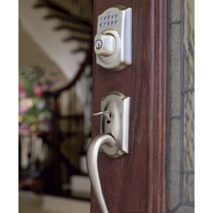 Schlage - Camelot Exterior with Avila Lever Interior with BE469NX Camelot Touchscreen Electronic Deadbolt with Alarm (Nexia Home Intelligence Built in Capability) in Satin Nickel