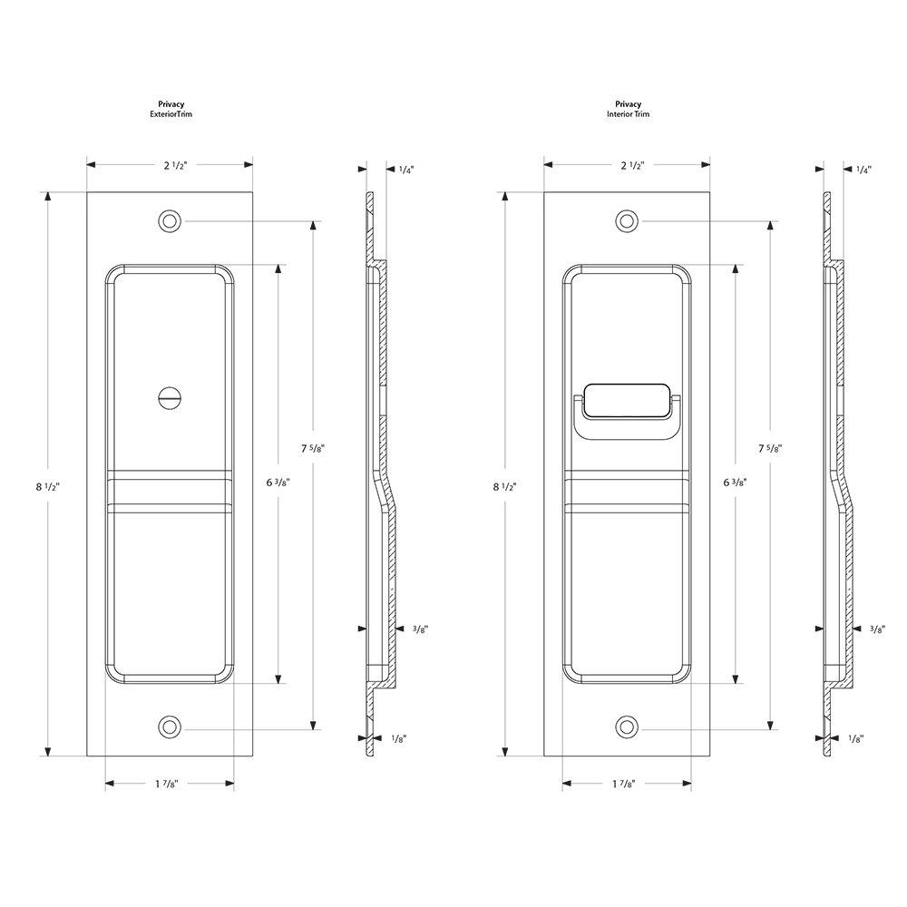 Mortise Pocket Door Hardware Sandcast Bronze Rustic