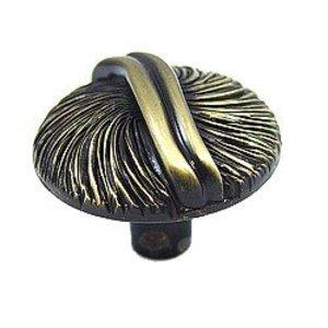 Abstract Designs Round Textured Knob in Satin Antique Brass