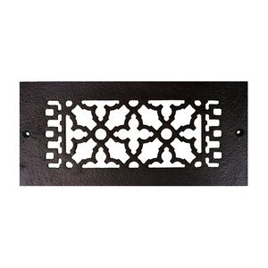 """Acorn MFG Smooth Iron Register 10"""" x 4"""" with Holes in Black"""