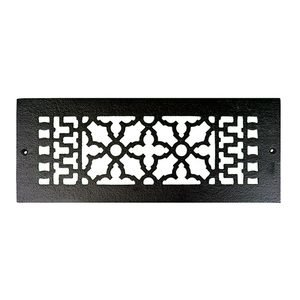 """Acorn MFG Smooth Iron Register 12"""" x 4"""" with Holes in Black"""
