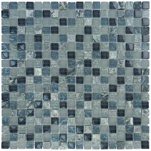 "Aqua Mosaics 5/8"" x 5/8"" Glass & Stone Mosaics in Steel Gray Frost Textured Stone Blend"