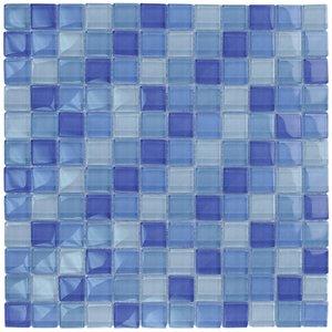 """Aqua Mosaics 1"""" x 1"""" Glass Mosaics in Turquoise Cobalt Blue Blend"""