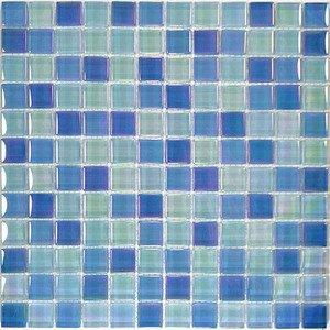 "Aqua Mosaics 1"" x 1"" Crystal Iridescent Mosaic in Sky Blue Blend"