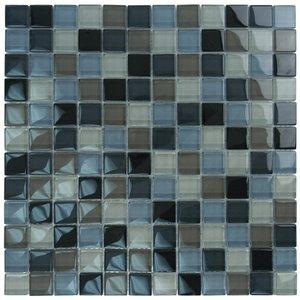 """Aqua Mosaics 1"""" x 1"""" Glass Mosaics in Black Charcoal Gray Taupe Blend"""