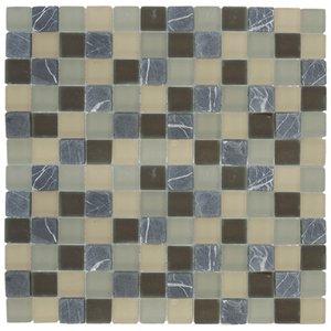 "Aqua Mosaics 1"" x 1"" Glass & Stone Mosaics in Charcoal Khaki Frosted Stone Blend"