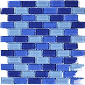 """Aqua Mosaics 1"""" x 2"""" Brick Crystal Mosaic in Cobalt Blue Blend"""
