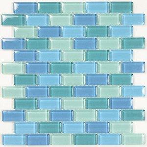 "Aqua Mosaics 1"" x 2"" Brick Crystal Mosaic in Turquoise Blue Blend"