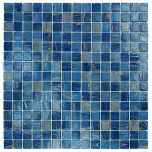 "Aqua Mosaics 3/4"" x 3/4"" Glass Mosaics in Blue Copper Blend"