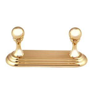 Alno Bath Accessories - Embassy - Double Robe Hook in Unlacquered Brass