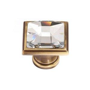 "Alno Inc. Creations Solid Brass 1 1/4"" Square Knob in Swarovski /Polished Antique"