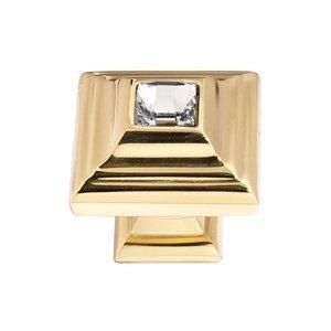 "Alno Inc. Creations Solid Brass 1 1/4"" Pyramid Knob in Swarovski /Gold"