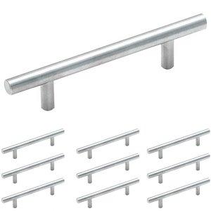 "Amerock 10 Pack of 3 3/4"" Centers Carbon Steel Bar Pull in Sterling Nickel"