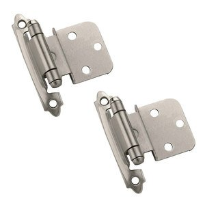 """Amerock Self Closing Face Mount 3/8"""" Inset Hinge (Pair) in Antique Silver"""