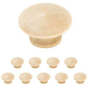 "Amerock 10 Pack of 1 1/2"" Unfinished Birch Wood Knob"