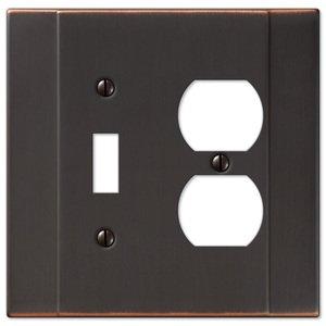 Amerelle Wallplates Single Toggle Single Duplex Combo Wallplate in Aged Bronze