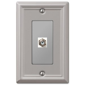 Amerelle Wallplates Single Cable Wallplate in Brushed Nickel