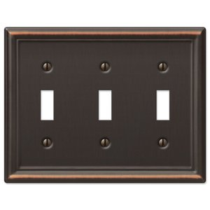 Amerelle Wallplates Triple Toggle Wallplate in Aged Bronze
