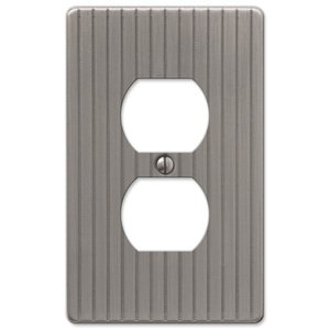 Amerelle Decorative Wallplates - Embossed Line - Single Duplex Wallplate in Antique Nickel