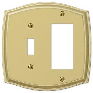 Amerelle Wallplates Single Toggle Single Rocker Combo Wallplate in Polished Brass