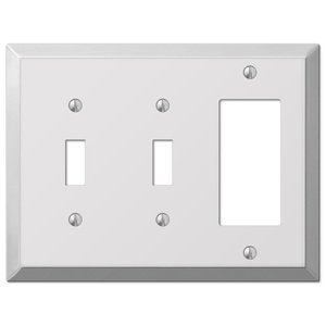 Amerelle Wallplates Double Toggle Single Rocker Combo Wallplate in Polished Chrome
