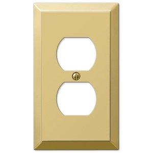 Amerelle Wallplates Single Duplex Wallplate in Polished Brass
