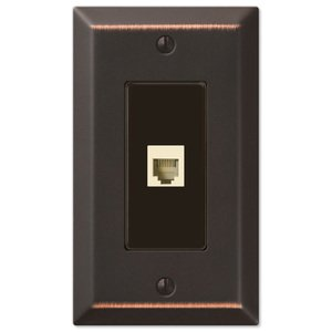 Amerelle Wallplates Single Phone Wallplate in Aged Bronze
