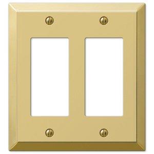 Amerelle Wallplates Double Rocker Wallplate in Polished Brass