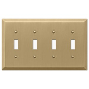 Amerelle Wallplates Quadruple Toggle Wallplate in Brushed Bronze