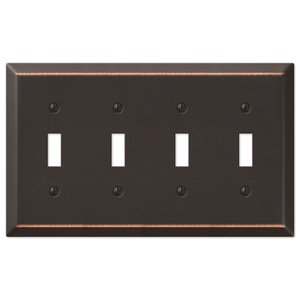 Amerelle Wallplates Quadruple Toggle Wallplate in Aged Bronze