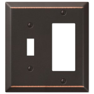 Amerelle Wallplates Single Toggle Single Rocker Combo Wallplate in Aged Bronze
