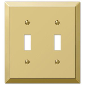 Amerelle Wallplates Double Toggle Wallplate in Polished Brass