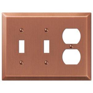 Amerelle Wallplates Double Toggle Single Duplex Combo Wallplate in Antique Copper