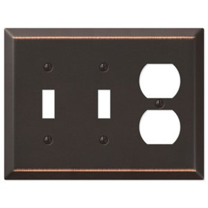 Amerelle Wallplates Double Toggle Single Duplex Combo Wallplate in Aged Bronze