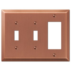 Amerelle Wallplates Double Toggle Single Rocker Combo Wallplate in Antique Copper