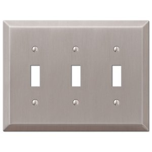Amerelle Wallplates Triple Toggle Wallplate in Brushed Nickel
