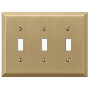 Amerelle Wallplates Triple Toggle Wallplate in Brushed Bronze