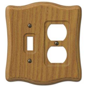 Amerelle Wallplates Wood Single Toggle Single Duplex Combo Wallplate in Medium Oak