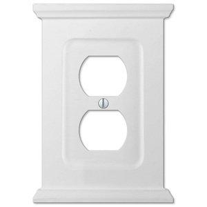 Amerelle Wallplates Wood Single Duplex Wallplate in White