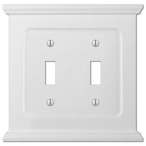 Amerelle Wallplates Wood Double Toggle Wallplate in White