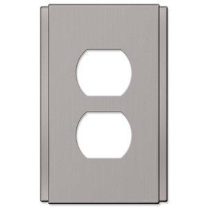 Amerelle Wallplates Single Duplex Wallplate in Brushed Nickel