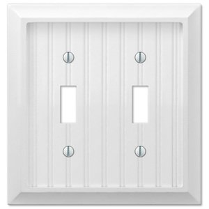 Amerelle Wallplates Double Toggle Wallplate in White