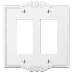 Amerelle Wallplates Double Rocker Wallplate in White