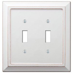Amerelle Wallplates Wood Double Toggle Wallplate in Distressed White