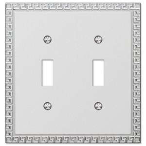 Amerelle Wallplates Double Toggle Wallplate in Frosted Chrome