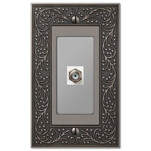 Amerelle Wallplates Single Cable Wallplate in Antique Nickel