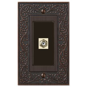 Amerelle Decorative Wallplates - English Garden - Single Cable Wallplate in Aged Bronze