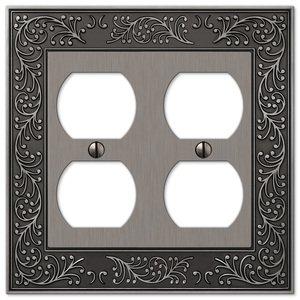 Amerelle Wallplates Double Duplex Wallplate in Antique Nickel