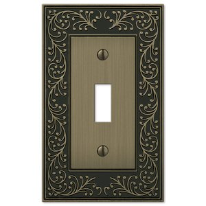 Amerelle Wallplates Single Toggle Wallplate in Brushed Brass