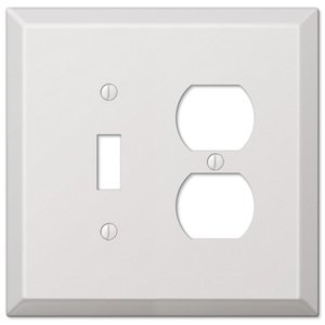 Amerelle Wallplates Single Toggle Single Duplex Combo Wallplate in White